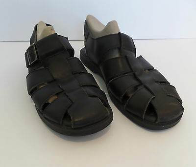 Men's Sperry Black Leather Fisherman Strappy Sandals Shoes Sz 12 M