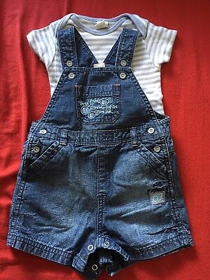 Baby Boy Dungaree Set With Vest From NEXT 0-3 Months