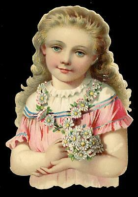 "3"" x 2""+ Victorian Die Cut Scrap Pretty Girl Long Blonde Curls Daisy Necklace"
