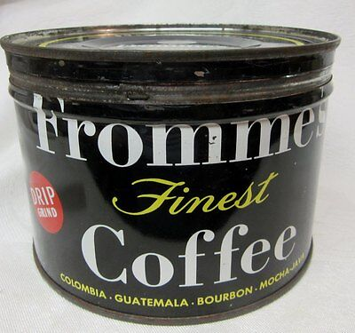 Vintage FROMME'S 1 POUND KEY WIND COFFEE TIN w LID   Fromme Co, NY