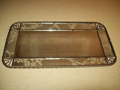 Vintage~Mirror~Tray~Wall Hanging~Decor~Gold Accents~Metal Frame~Heart~