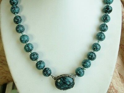Old Vintage Antique Chinese 1930s Peking Glass Turquoise Black Bead Necklace