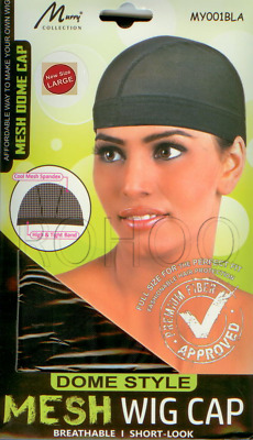 MURRY MESH DOME WIG CAP SPANDEX X-LARGE with High & Tight Band MY001 BLACK