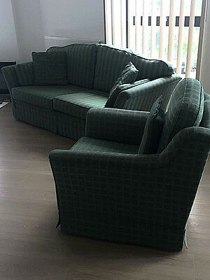 Very Good Condition Regency Style 2 Seater Sofa 1 Armchair Check Deep Green