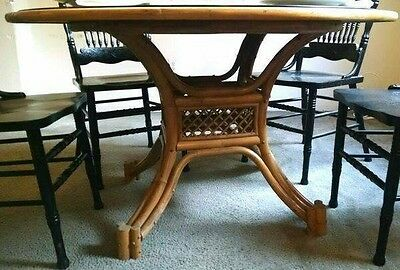 Vintage Rattan Bamboo Round Dining Table
