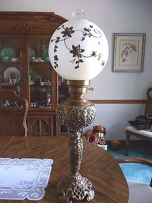 Vtg. Antique  Ainsley Tall  GWTW Parlor Banquet Lamp Raised Florals on Shade