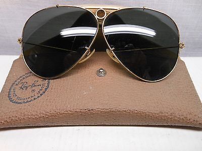 Vintage Ray Ban Aviator Shooters Bullet Hole 62MM 1/30 10K GO Sunglasses W Case