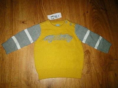 NWT Baby Gap Boy's Varsity Yellow Gray Vintage Race Car Sweater Size 3-6 Months