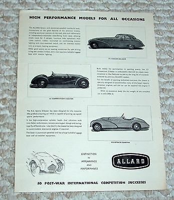 "1951 ALLARD J2 - K2 - P1 - original factory brochure ""High Performance Models.."""