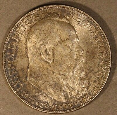 1911D German State Bavaria 2 Mark Silver Lightly Toned ** FREE U.S. SHIPPING **