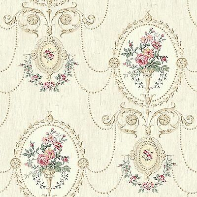 Dollhouse Miniature Shabby Chic Wallpaper Pink and Tan Victorian Floral 1:12
