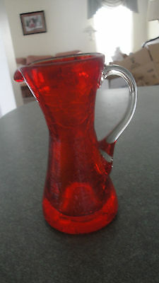 """Garnet red crackle glass mini pitcher clear applied handle approx 4"""""""
