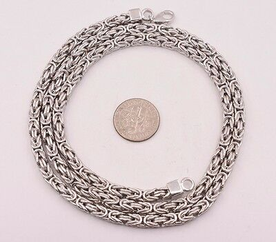 4mm Mens Byzantine Square Chain Necklace Real Rhodium Sterling Silver 925 Italy
