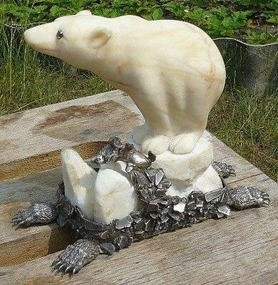 ANTIQUE Imperial Russia Polar Bear Russia 84 Silver with Solid Gold Garnet Stone