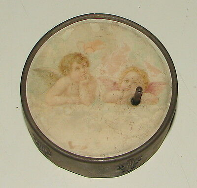 Antique Hand Crank Working Music Box--Picture Of Two Angels Dreaming