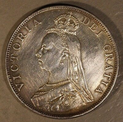 1889 Great Britain Double Florin Silver Old Cleaning    ** FREE U.S. SHIPPING **