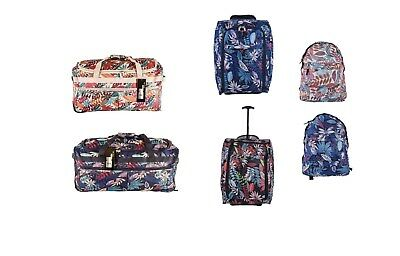 Wheeled Holdall Flower Travel Luggage Trolley Suitcase Duffle Bag Backpack