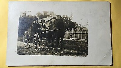 Rppc. Real Photo Horse And Buggy Very Nice Collector Card. Free Shipping