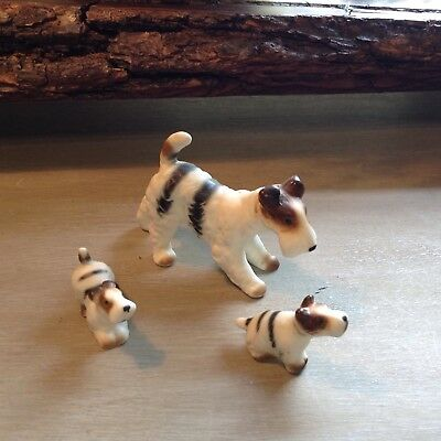 3 FOX TERRIERS Vintage Bone China Matte Miniatures Figurines Animals Dogs Family