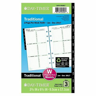 Day-Timer Weekly Planner Refill 2017, Two Page Per Week, Loose Leaf, 3-3/4 x