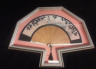Vintage Japanese Hand Painted folding fan in Beautiful Custom Frame
