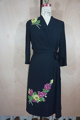 "1940s Rayon Black Floral Appliqué Wrap Dress 28"" Waist"