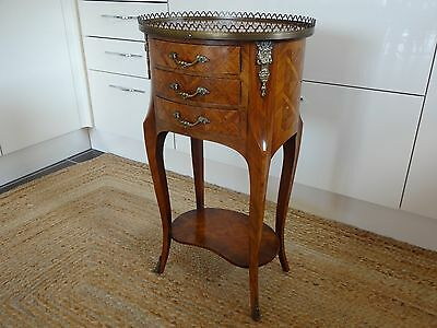Louis XV Marquetry Side Table with 3 Drawers