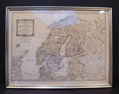 1790 Large Original  Map Of Sweden Denmark And Norway By Thomas Kitchin Framed