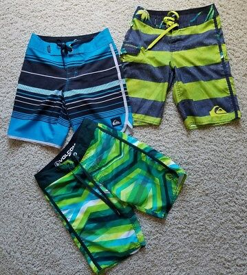 Lot of 3 Boy's Quicksilver/Volcom Board Shorts Swim Surf Trunks SZ 24/8