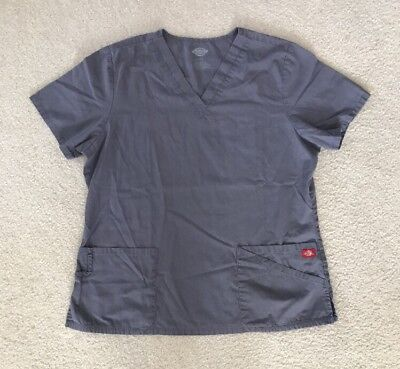 Dickies Gray Scrub Top Size Large