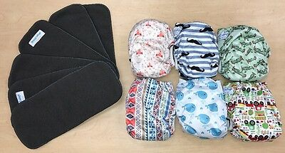 EUC Lot Of 6 Happy Endings Adjustable Cloth Diapers Diaper Cover Extra Inserts