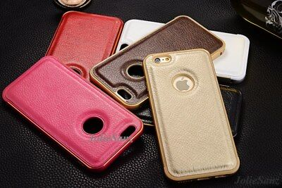 Luxury LEATHER Back Case Aluminum Bumper Cover For Apple iPhone 5 5S & SE