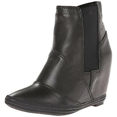 All Black 1274 Womens Black Leather Ankle Wedge Boots Shoes 38 Medium (B,M) BHFO