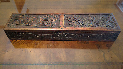"Antique Opium Box 19.5"" Long English Oak Hand Carved"
