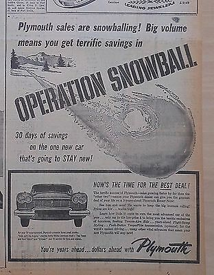 1957 newspaper ad for Plymouth - Sales are Snowballing! Time For Best of All