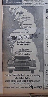 1957 newspaper ad for Plymouth - Operation Snowball! Dealers go all out