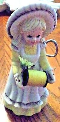 Vintage Bisque Sewing Doll With Thread & Scissors Holder ..pin Cushion Hat