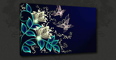Abstrct Butterflies Flowers Modern Wall Art Canvas Print Picture Ready To Hang