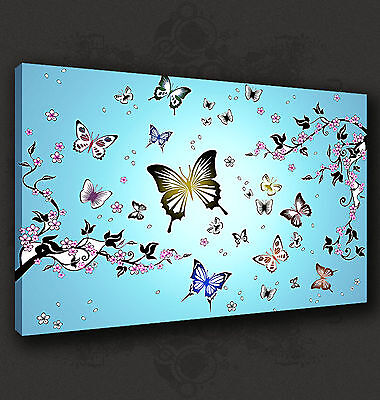 Abstract Butterflies Blue Modern Wall Art Canvas Print Picture Ready To Hang