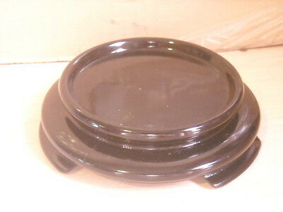 """Clock, Doll or Display Glass Dome Black Ceramic Base Only for 3.25"""" Glass Dome"""