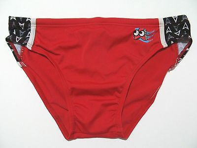 "Boys Speedo Style Swim Brief Trunks Swimsuit Slip Youth 12/14Y 28-30"" Red Black"