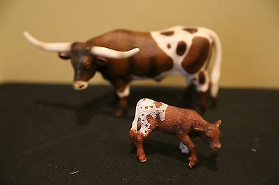 Schleich Lot of 2 Retired Texas Longhorns - bull and calf