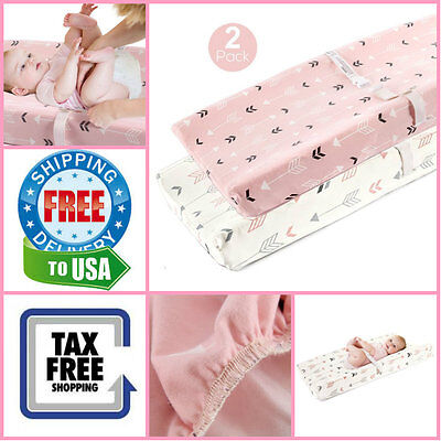 Baby Changing Table Pad Cover Contoured Diaper Change Changing Tote 2 pack