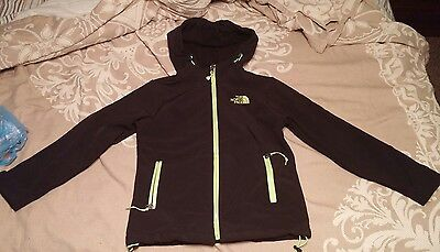 New The North Face Large 8-10 Boys Girls Unisex Black Green Zipup Hoodie