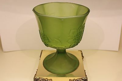 Mid-Century Frosted Green Glass Brass Plated Footed Grape Pattern Candy Dish 7.5