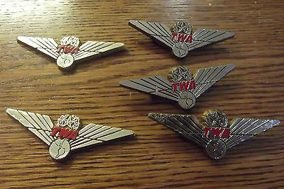 Vintage Lot of 3 TWA Trans World Airlines Plastic Junior Pilot Wings Pin + 2 not