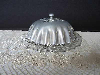 Vintage Round Glass Bottom Butter Dish w/ Aluminum Dome Top