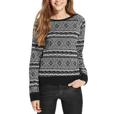 One Clothing 1755 Womens Black Knit Pattern Pullover Sweater Top Juniors M BHFO