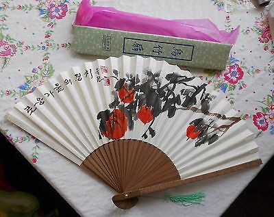 Vtg Hand Painted Japanese or Chinese Paper Fan
