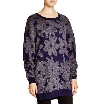 DKNY 8145 Womens Navy Ribbed Trim Wool Blend Printed Pullover Sweater Top M BHFO